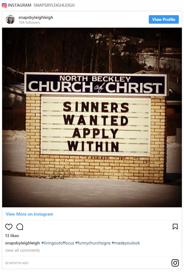 Sinners wanted. Apply within.