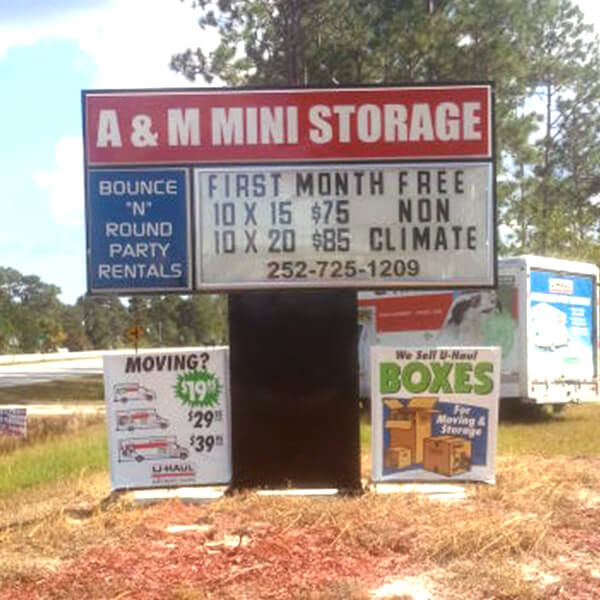 Business Sign for A & M Mini Storage