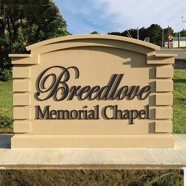 Business Sign for Breedlove Memorial Chapel