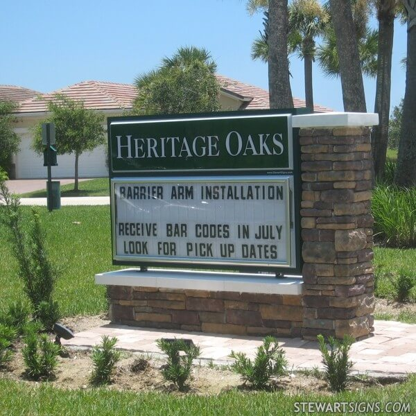 Civic Sign for Heritage Oaks Homeowners Association