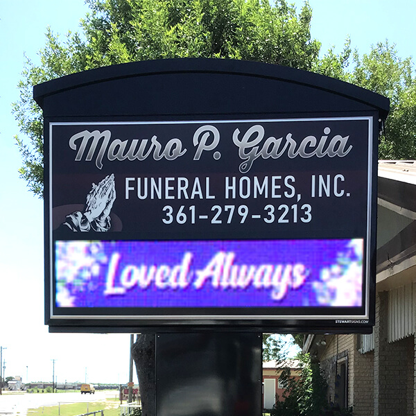 Business Sign for Mauro P. Garcia - Funeral Homes, Inc.