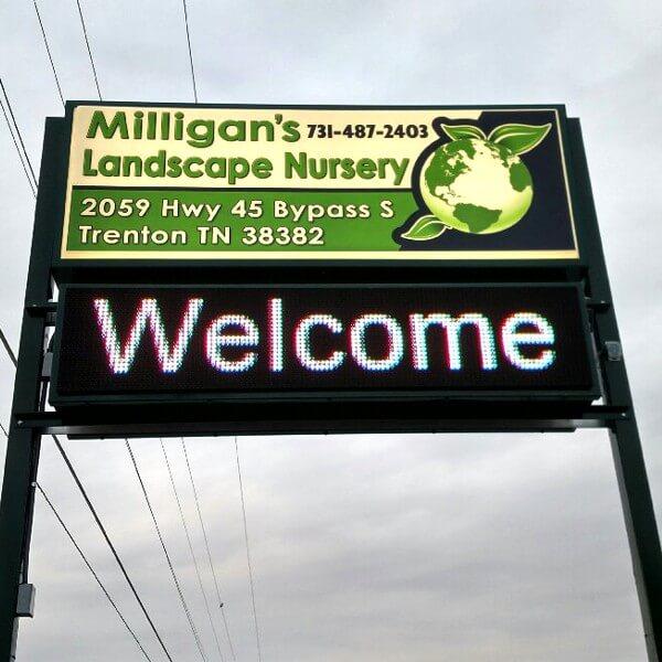 Business Sign for Milligan's Landscape Nursery