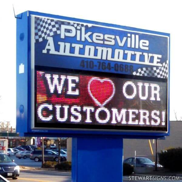 Business Sign for Pikesville Automotive