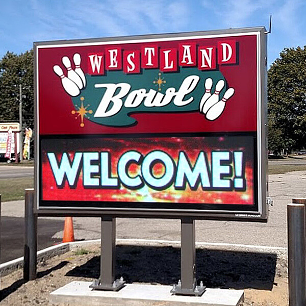 Business Sign for Westland Bowl