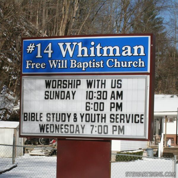 Church Sign for #14 Whitman Free Will Baptist Church