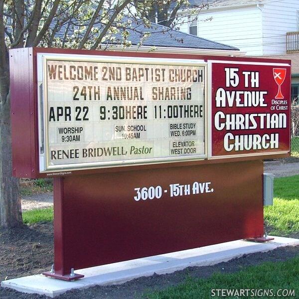 Church Sign for 15th Avenue Christian Church