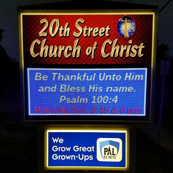 Church Sign for 20th Street Church Of Christ