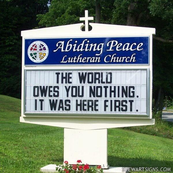 Church Sign for Abiding Peace Lutheran Church
