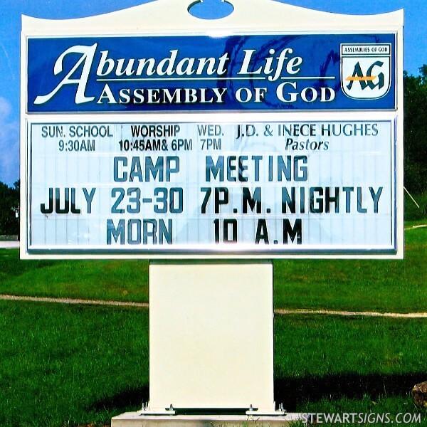 Church Sign for Abundant Life Assembly Of God