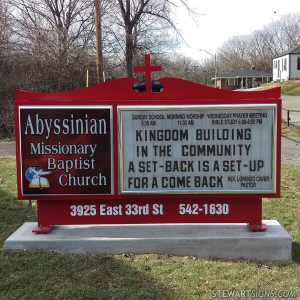 Church Sign for Abyssinian Missionary Baptist Church