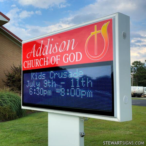 Church Sign for Addison Church Of God