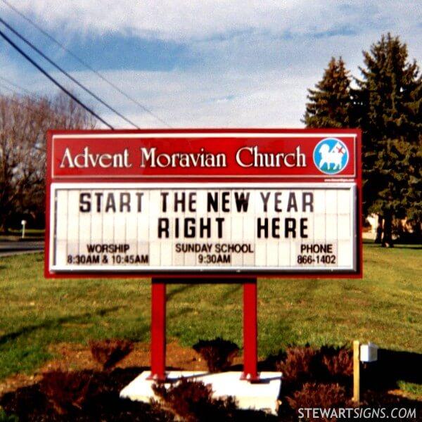 Church Sign for Advent Moravian Church - Bethlehem, PA