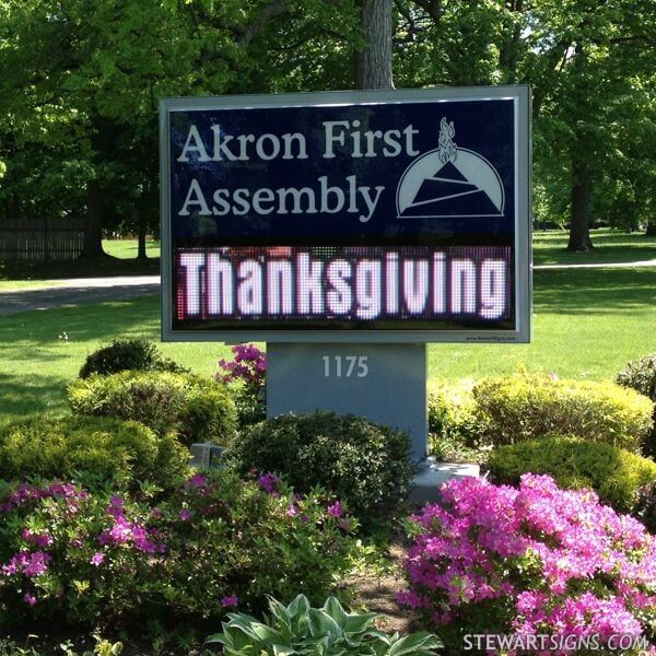 Church Sign for Akron First Assembly Of God