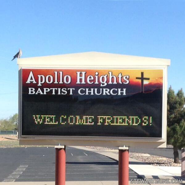 Church Sign for Apollo Heights Baptist Church