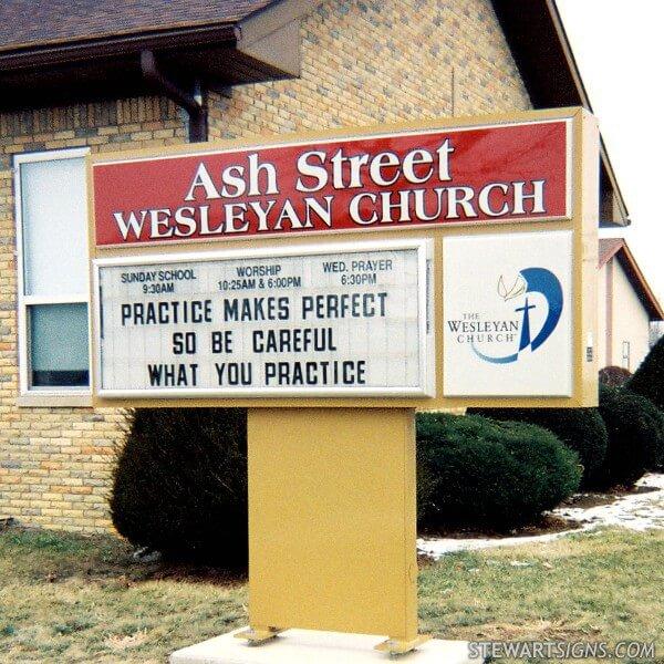 Church Sign for Ash Street Wesleyan Church