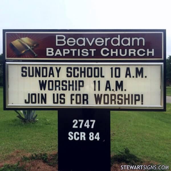 Church Sign for Beaverdam Baptist Church