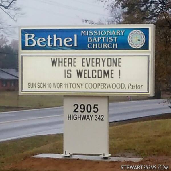Church Sign for Bethel Missionary Baptist Church