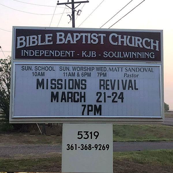 Church Sign for Bible Baptist Church