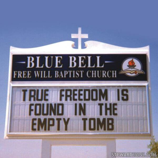 Church Sign for Blue Bell Free Will Baptist