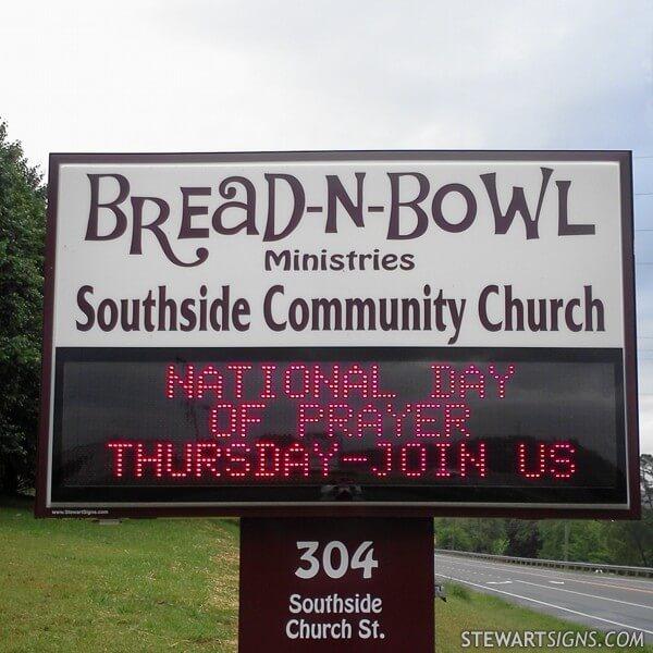 Church Sign for Bread N Bowl Ministries