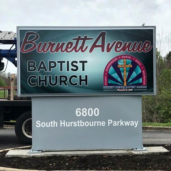 Church Sign for Burnett Ave Baptist Church