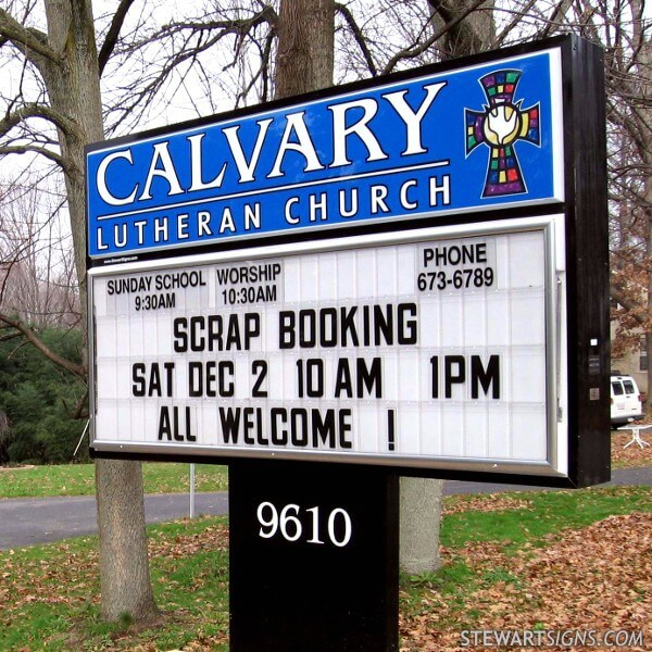 Church Sign for Calvary Lutheran Church