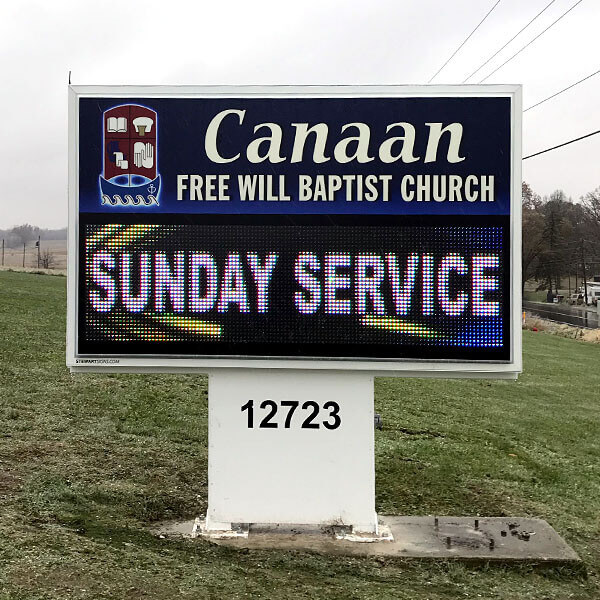 Church Sign for Canaan Free Will Baptist Church