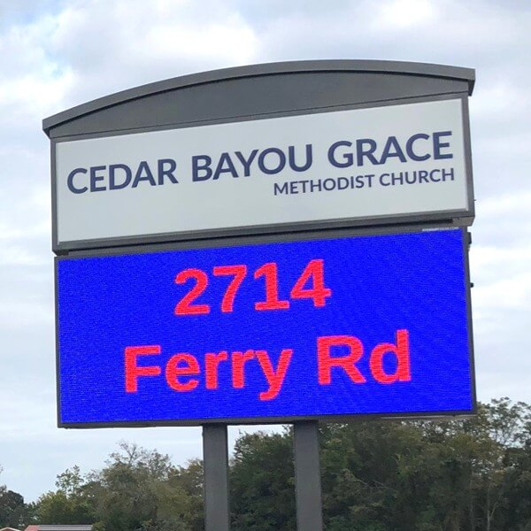 Church Sign for Cedar Bayou Grace United Methodist Church
