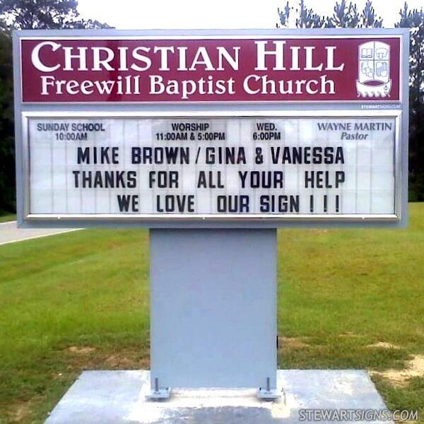 Church Sign for Christian Hill Freewill Baptist Church