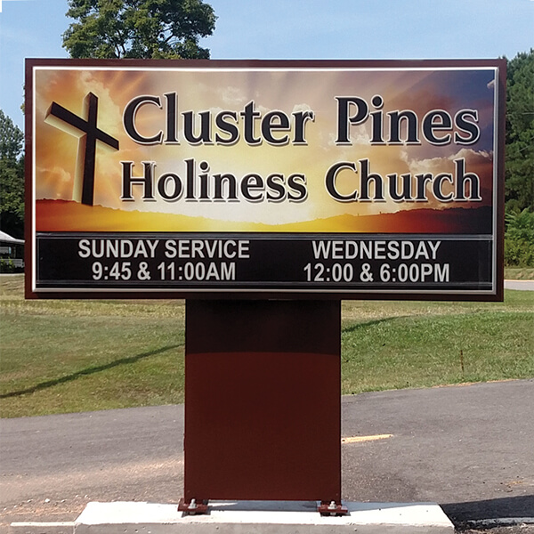 Church Sign for Cluster Pines Holiness Church