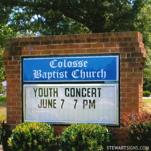Church Sign for Colosse Baptist Church