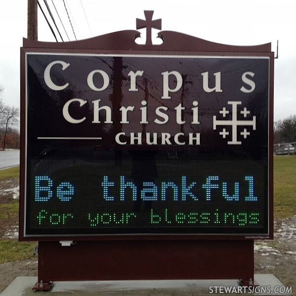 Church Sign for Corpus Christi Church