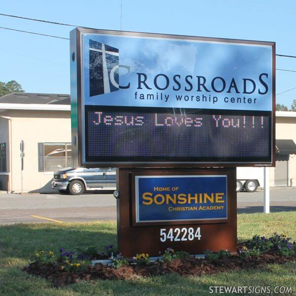 Church Sign for Crossroads Family Worship Center