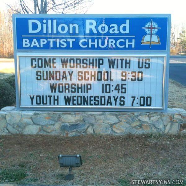 Church Sign for Dillon Road Baptist Church