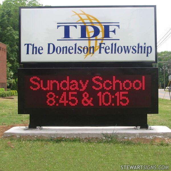 Church Sign for The Donelson Fellowship Baptist Church