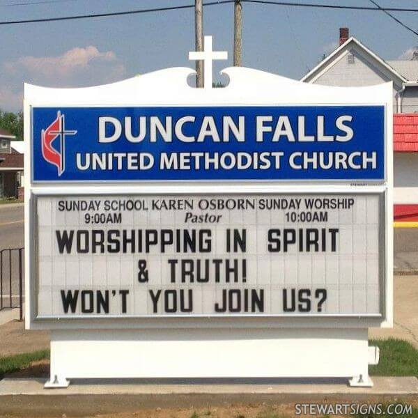 Church Sign for Duncan Falls United Methodist Church
