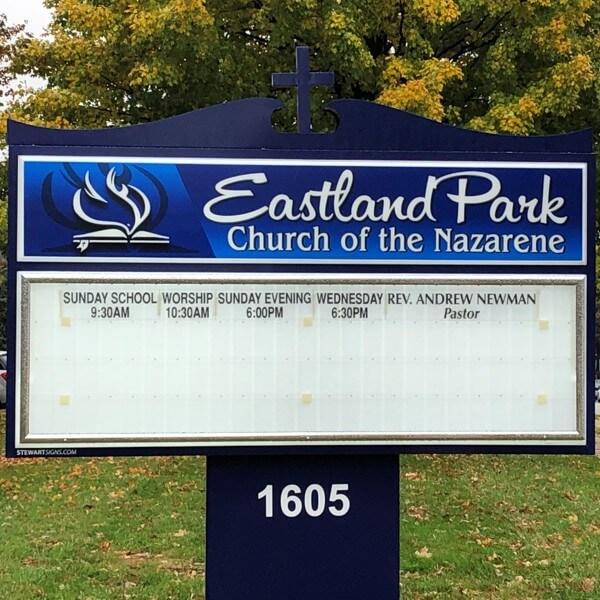 Church Sign for Eastland Park Church Of The Nazarene