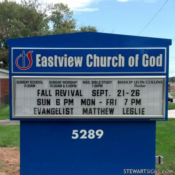 Church Sign for Eastview Church Of God