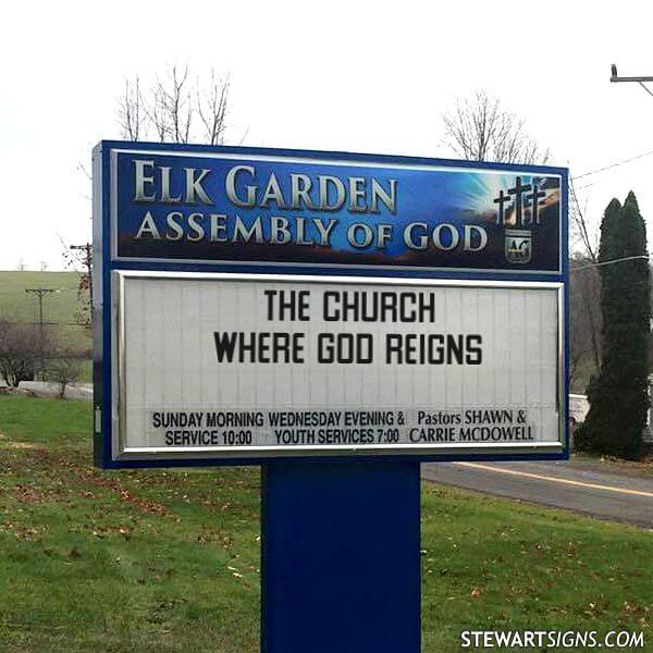 Church Sign for Elk Garden Assembly Of God