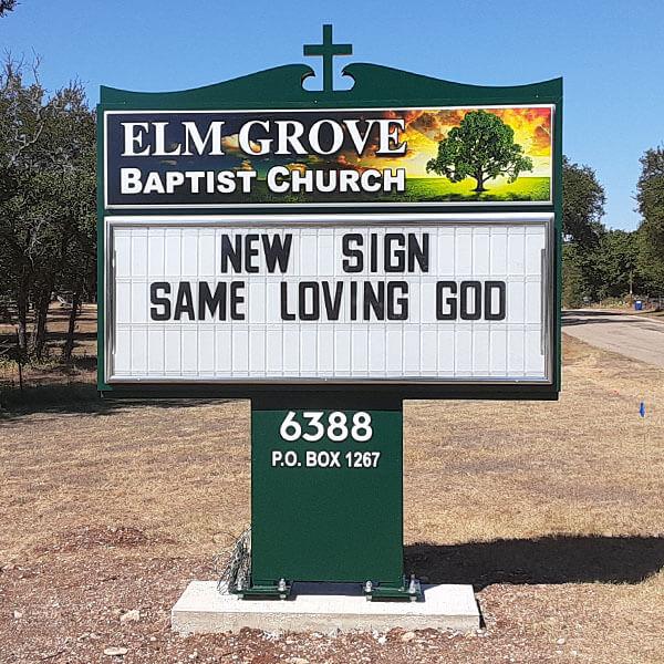 Church Sign for Elm Grove Baptist Church
