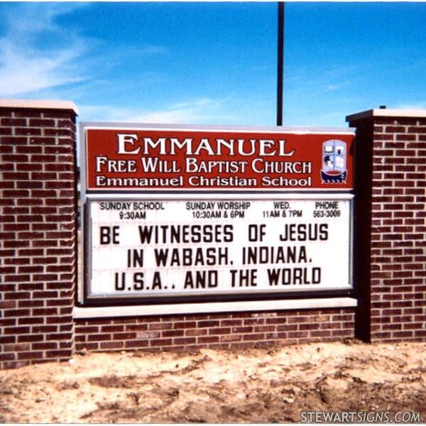 Church Sign for Emmanuel Free Will Baptist Church