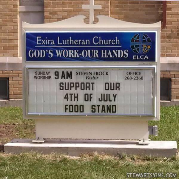 Church Sign for Exira Lutheran Church