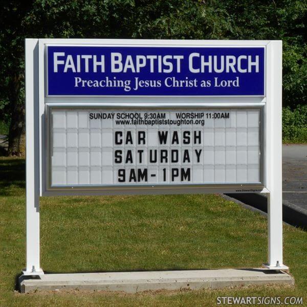 Church Sign for Faith Baptist Church Of Stoughton