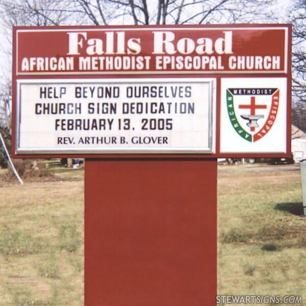 Church Sign for Falls Road African Methodist Episcopal Church