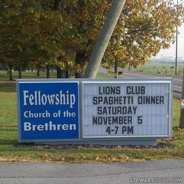 Church Sign for Fellowship Church Of The Brethren