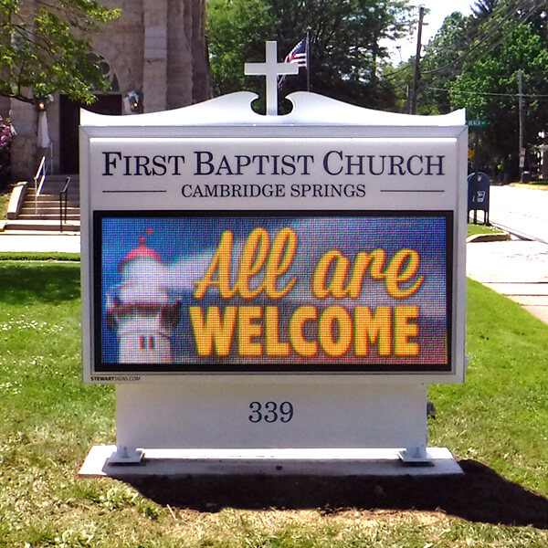 Church Sign for First Baptist Church Of Cambridge Springs