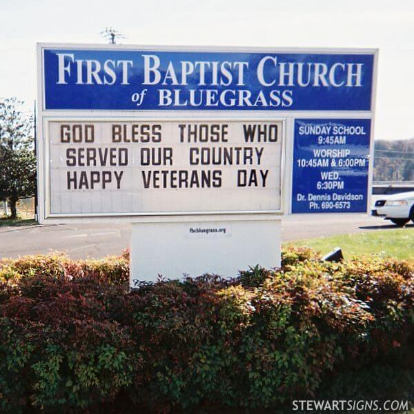 Church Sign for First Baptist Church Of Bluegrass