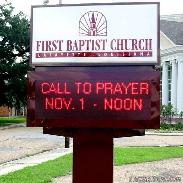 Church Sign for First Baptist Church