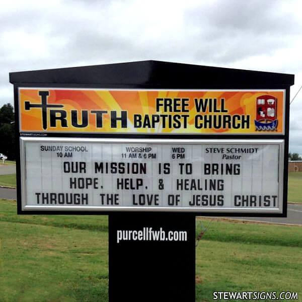 Church Sign for Truth Free Will Baptist Church