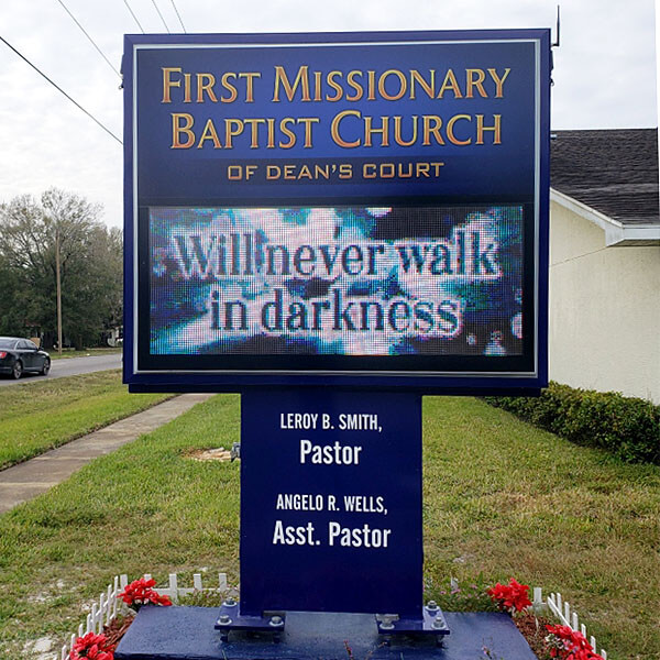 Church Sign for First Missionary Baptist Church Of Dean's Court
